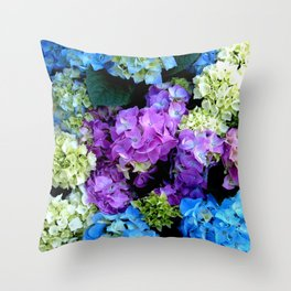 Colorful Flowering Bush Throw Pillow