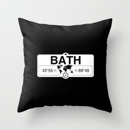 Bath Maine GPS Coordinates Map Artwork with Compass Throw Pillow