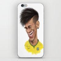 neymar iPhone & iPod Skins featuring Neymar - Brazil by Sant Toscanni