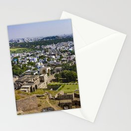 View of the Outer Wall Lining Golconda Fort and the Old City behind It in Hyderabad, India Stationery Cards