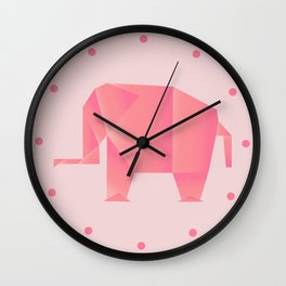 Big, Happy Elephant - Origami Pink Elephant Wall Clock