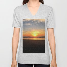 WALKING ON THE BEACH AT SUNSET Unisex V-Neck