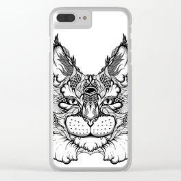 CAT maine coon  / LYNX head. psychedelic / zentangle style Clear iPhone Case