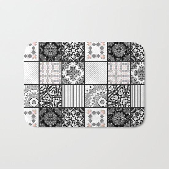 Patchwork . Squares of black, gray Patterns . Bath Mat