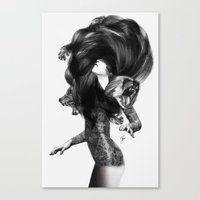 sexy Canvas Prints featuring Bear #3 by Jenny Liz Rome