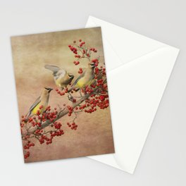Cedar Waxwings Gathering Stationery Cards