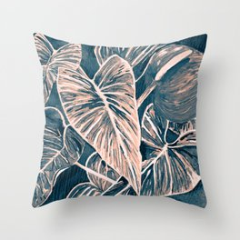 Pop Anthurium Leafs and Flowers Throw Pillow