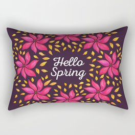 Hello Spring Watercolor Flowers Wreath Rectangular Pillow