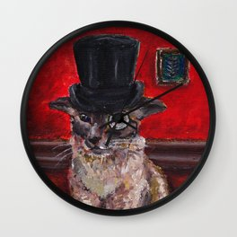 Cat in top hat Wall Clock