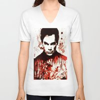 dexter V-neck T-shirts featuring Dexter by Alycia Plank