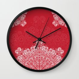 Red background with white love mandala Wall Clock