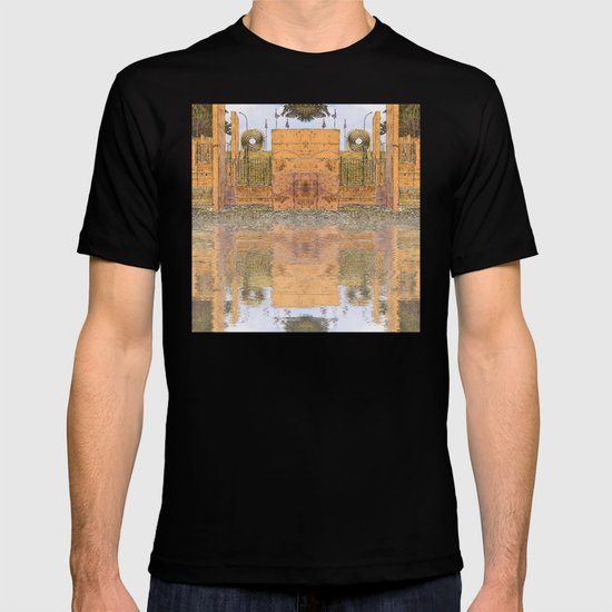 Beach stairs reflected in abstract T-shirt