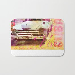Viva Cuba retro car mixed media art Bath Mat
