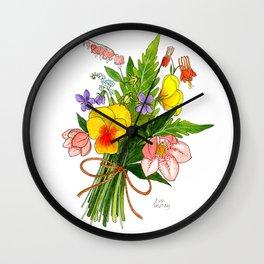 Spring Flower Bouquet Wall Clock
