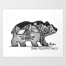 """Wander Bear"" Hand-Drawn by Dark Mountain Arts Art Print"
