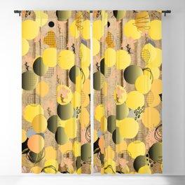 Black and Yellow, Circular Balls, Abstract Blackout Curtain