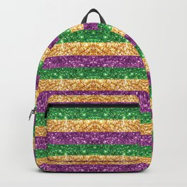 New Orleans Mardi Gras Glitter Stripes Purple Green Gold #society6 Backpack