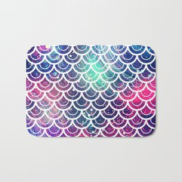 Mermaid Scales Pink Turquoise Blue Bath Mat