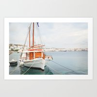Mykonos Harbor Art Print