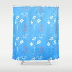 Plein Air Blue Floral Pattern Shower Curtain