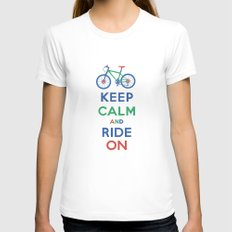 Keep Calm and Ride On White Womens Fitted Tee MEDIUM