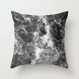 Ocean Glow - Black and White Nature Photography Throw Pillow
