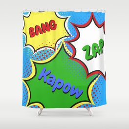 BANG! ZAP! KAPOW! Shower Curtain