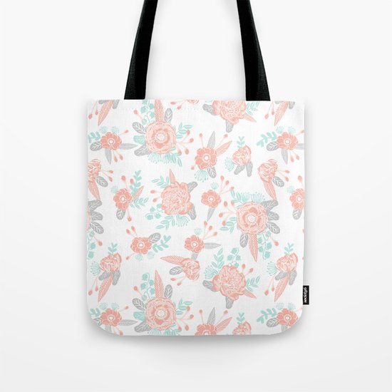 Floral bouquet pastel mint pink florals painted painted pattern basic minimal pattern print Tote Bag