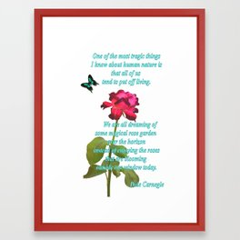 Magenta Red Rose with Butterfly and Quote Framed Art Print