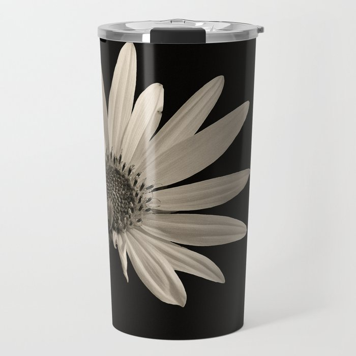 Black And White Sunflower Travel Mug