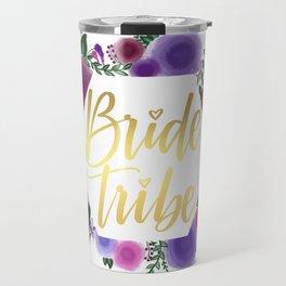 Shiny gold Bride Tribe (floral hexagon) Travel Mug