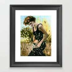 Persephone and the Bees_blue Framed Art Print