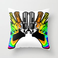 Rainbow Revolver Throw Pillow