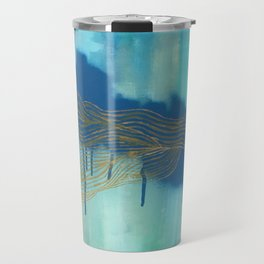 Golden Blue Lines Travel Mug