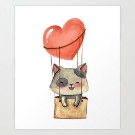 funny cute sweet kitten cat lovers hot air balloon of love present gift idea Art Print