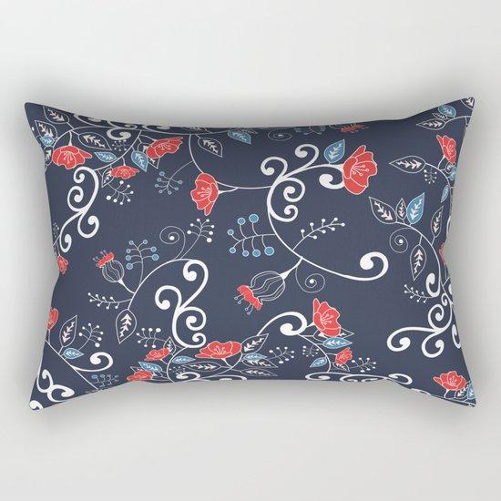 Floral Blue Rectangular Pillow