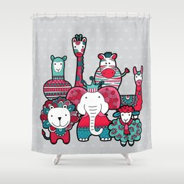 Doodle Animal Friends Pink & Grey Shower Curtain