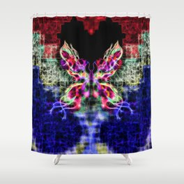 Beautiful Red Purple Blue Fractal Moth with tails of stars Shower Curtain