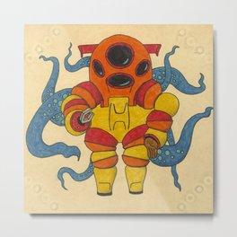 Red Scuba Diver Metal Print