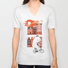 Happy Ghost Biking Through Amsterdam Unisex V-Neck