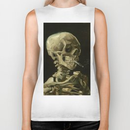 Skull of a Skeleton with Burning Cigarette by Vincent van Gogh Biker Tank