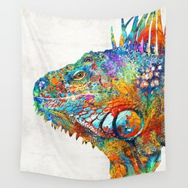 Colorful Iguana Art - One Cool Dude - Sharon Cummings Wall Tapestry