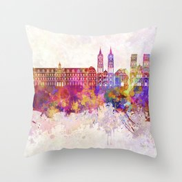 Caen skyline in watercolor background Throw Pillow