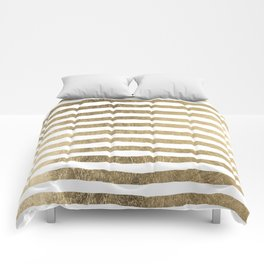 White faux gold elegant modern striped pattern Comforters