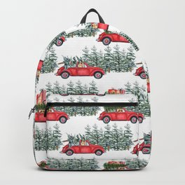 Corgis in car in winter forest Backpack