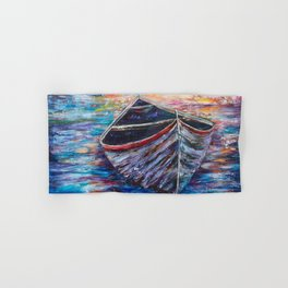 Wooden Boat at Sunrise - original oil painting with palette knife #society6 #decor #boat Hand & Bath Towel
