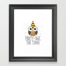 Party Owl The Time Framed Art Print