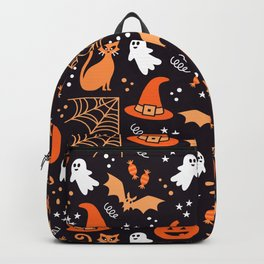 Halloween party illustrations orange, black Backpack
