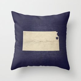 Kansas City, Kansas Love Map Art Throw Pillow