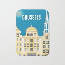 Brussels, Belgium - Skyline Illustration by Loose Petals Bath Mat